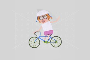 3d illustration. Cycling girl.
