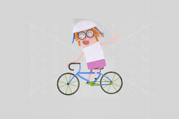 3d illustration. Cycling girl. - Illustrations