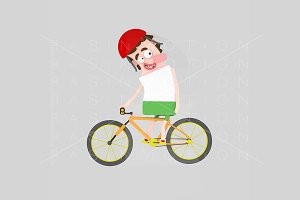 3d illustration. Mountain bike man.