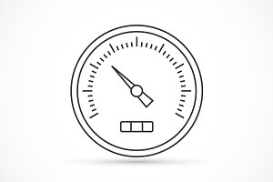 Speedometer outline icon