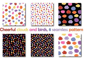 Cheerful clouds and birds, patterns