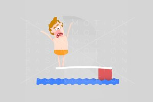 3d illustration. Diving man.