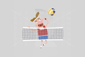 3d illustration. Volleyball player.
