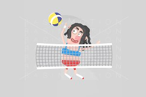 3d illustration. Volleyball woman.