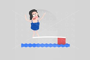 3d illustration. Diving woman.