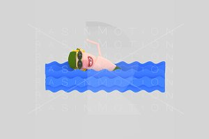 3d illustration.  Swimming Man.