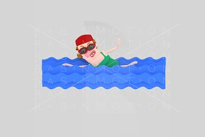 3d illustration. Swimming woman.