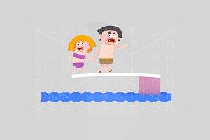 3d illustration. Diving children.