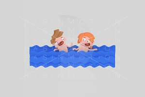 3d illustration. Swimming children.