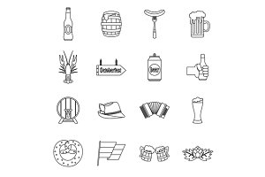 Oktoberfest icons set, outline style