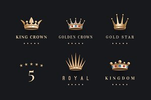 Set of royal gold crowns