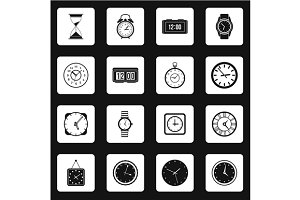 Clock icons set in simple style