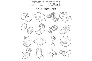 Gym icons set in outline style