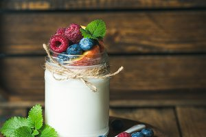 White yogurt with fresh berries