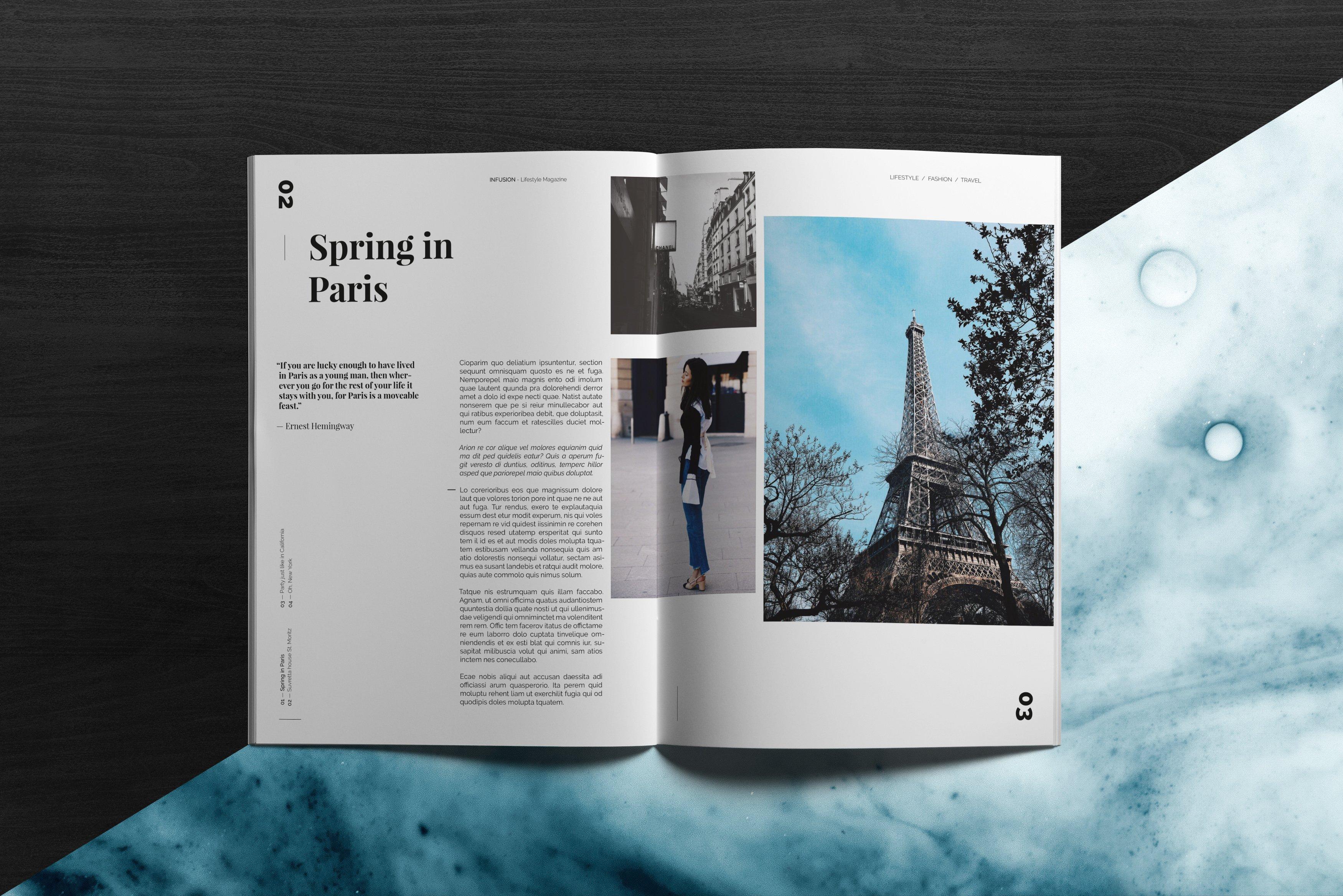 infusion lifestyle magazine magazine templates creative market. Black Bedroom Furniture Sets. Home Design Ideas