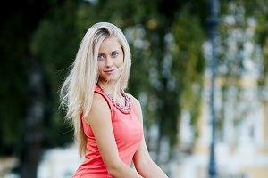 Beautiful blonde happy girl