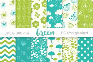 Green Digital Paper Pack Scrapbook
