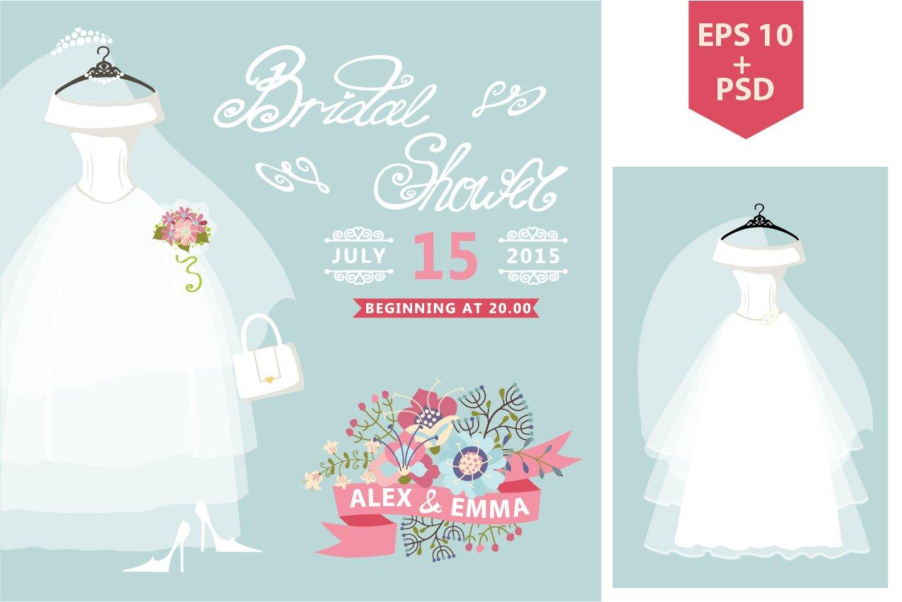 Bridal Shower.Wedding dress,flowers ~ Invitation Templates ...