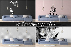 Wall Mockup - Sticker Mockup Vol 64