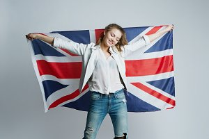 Girl with Great Britain flag