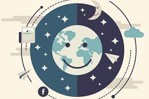 Planet Earth Flat Illustration