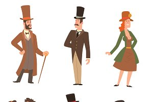 Vector vintage victorian people