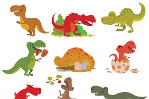 Dinosaurs cartoon collection vector
