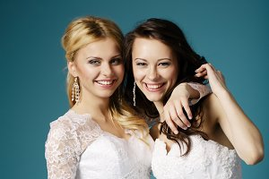 two beautiful brides portrait
