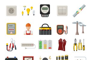 Energy vector power icons