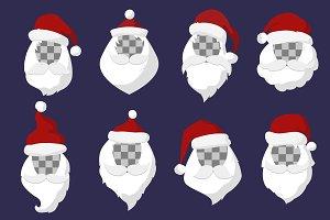 2017 santa face vector set
