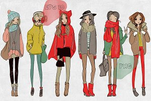 6 cartoon winter girls