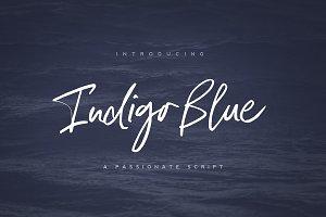 Indigo Blue Font + Swashes