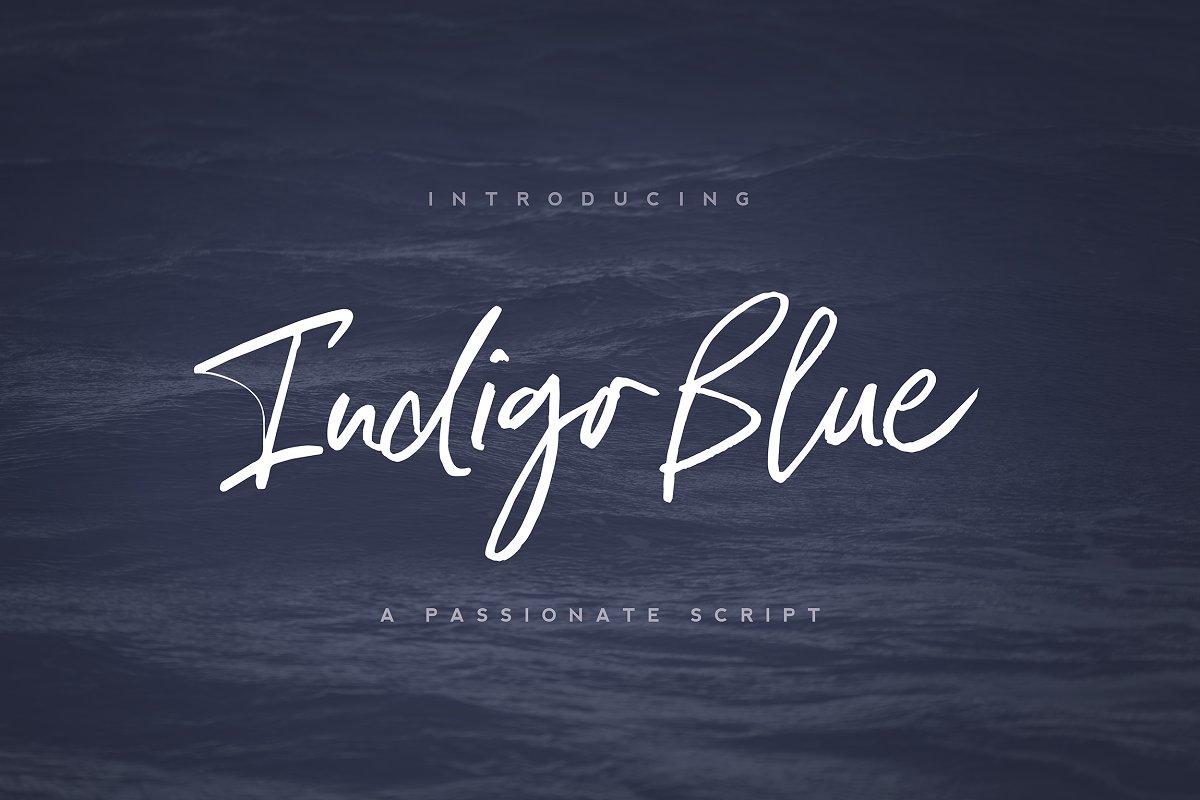 Indigo Blue Font + Swashes ~ Script Fonts ~ Creative Market