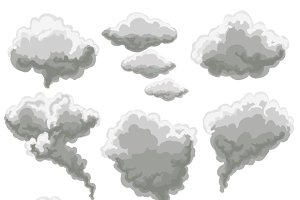 Cartoon smoking fog clouds