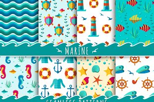 Seamless vector nautical patterns