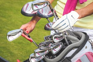 Golf bag with equipment and hands #2