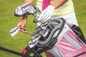 Golf bag with equipment and hands #3