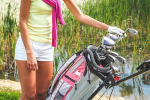 Golf bag with equipment and hands #4