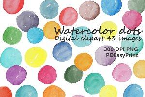Watercolor dot clipart, dots clipart