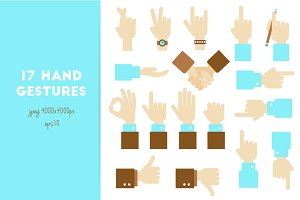 Hand flat vector design set