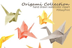 Watercolor origami clipart, crane