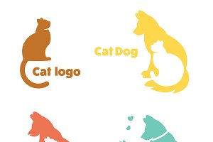 Cat and dog icon for a pet store.