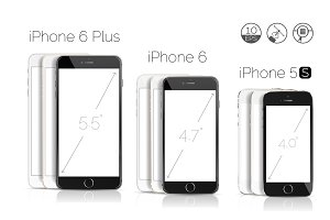 iPhone 6 Plus, 6, 5S detailed mockup