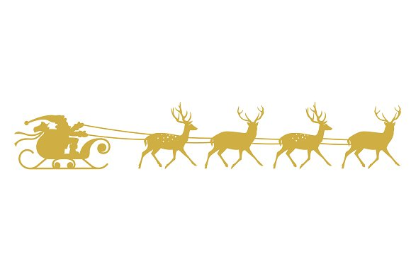 santa sleigh and reindeer graphics creative market