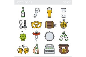 Beer. 12 icons set. Vector