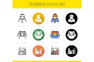 Industrial plant. 12 icons. Vector
