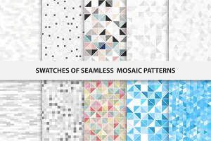 Swatches of mosaic seamless patterns