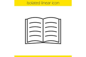 Open book linear icon. Vector