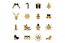 Christmas gold stickers