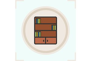 Bookcase color icon. Vector